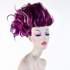 Mannequin with purple hair and make-up