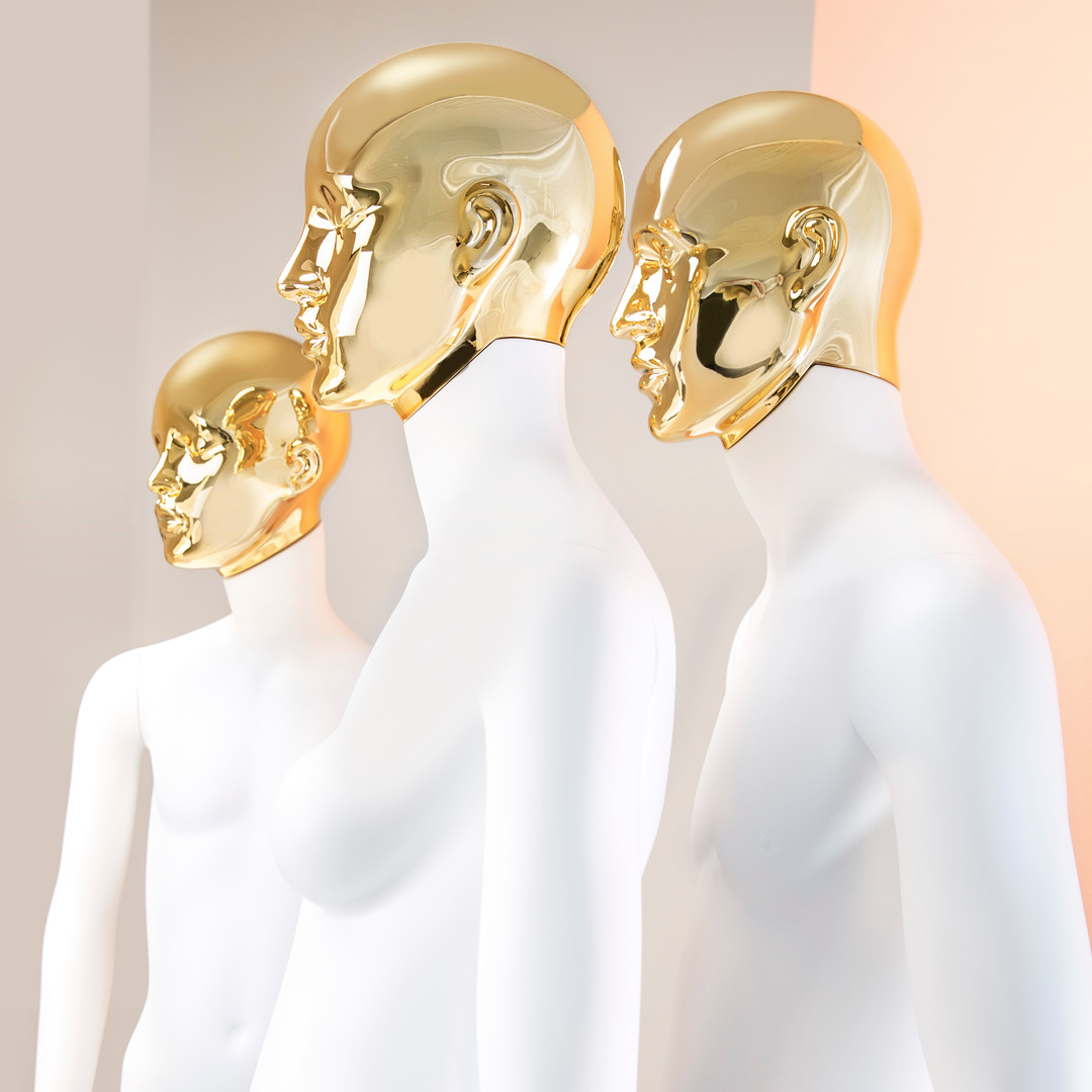 Bonami mannequins_Collection Omnia abstract_Female abstract mannequin with detachable golden head