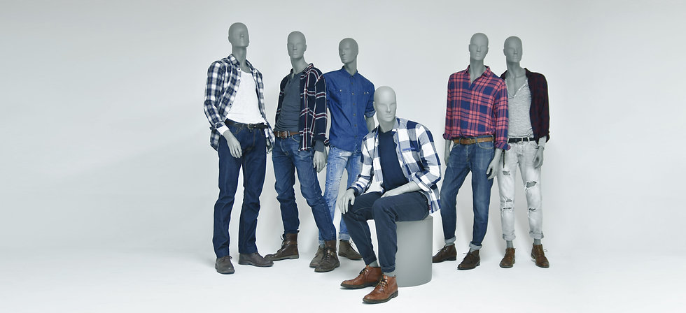 Store display mannequins for menswear