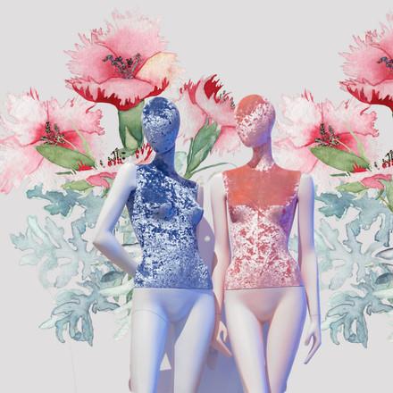 Bonami mannequins_Collection Shiki_Vrouwelijke abstracte collectie_bedekt met fluweel (stof)