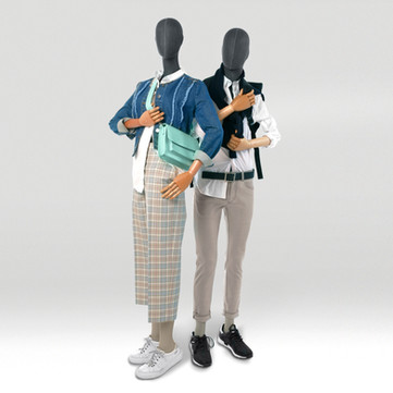 Sustainable mannequins covered with grey fabric and wooden arms