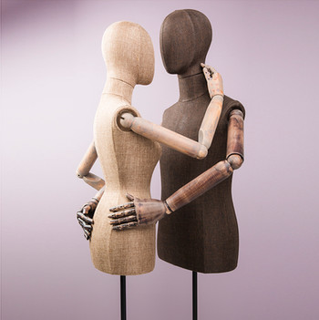 Bonami mannequins_busts covered with fabric_display with wooden arms