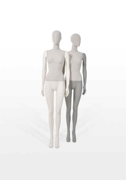Mannequin display covered with fabric