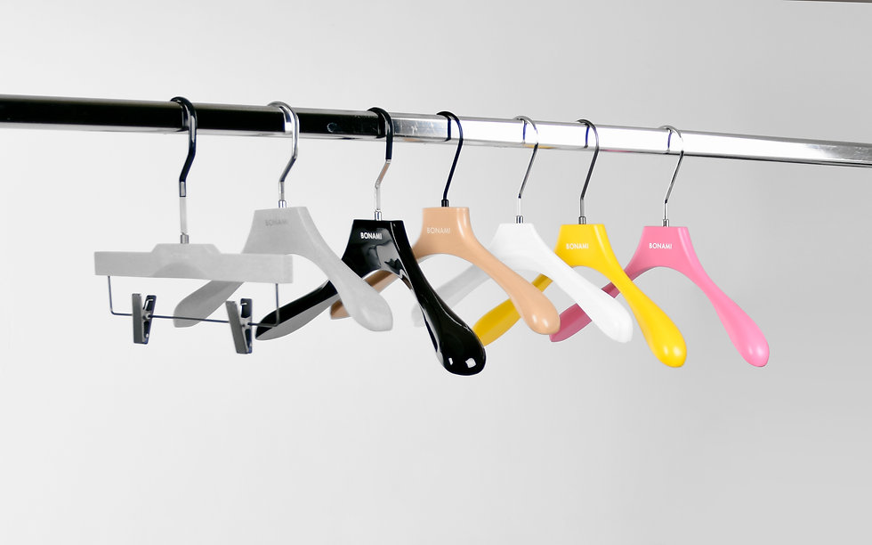 Sustainable hangers in different colours