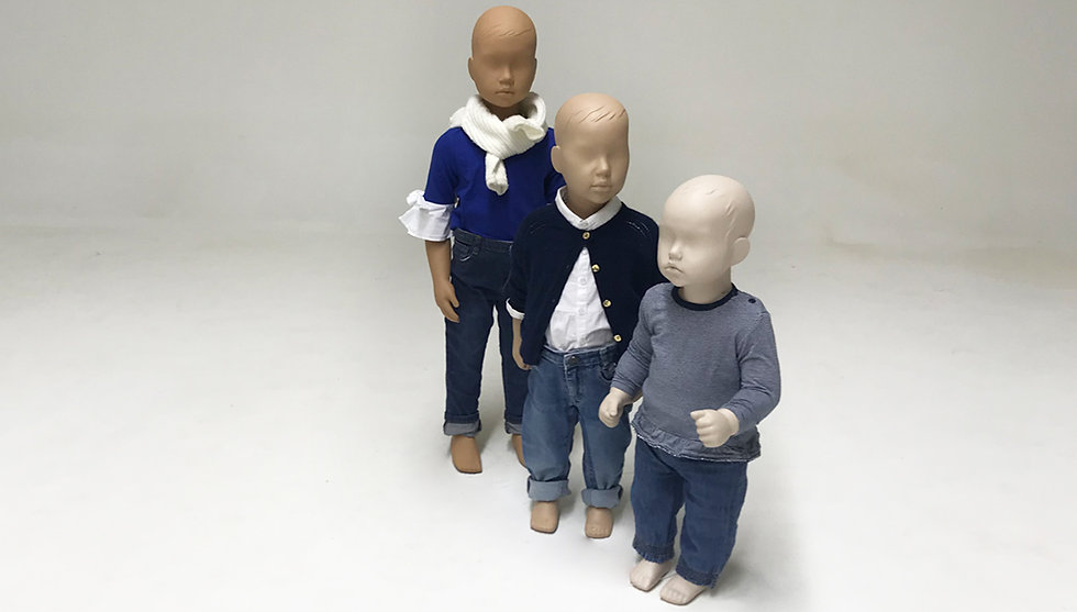 Kids mannequins from different ages