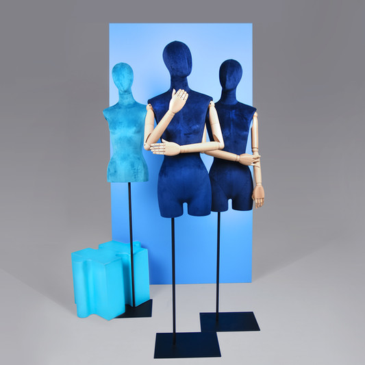 Blue busts with wooden arms