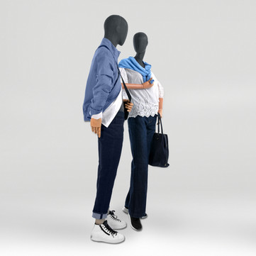 Bonami sustainable mannequins with grey fabric and wooden arms