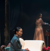 Sharmila Dey as Thea Elvstead and Lauren Brotman as Hedda Gabler