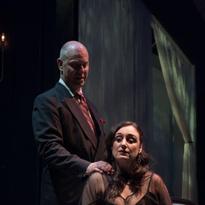 Lauren Brotman as Hedda Gabler and Stewart Arnott as Judge Brack