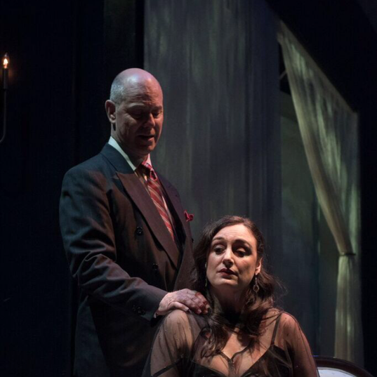 Lauren Brotman as Hedda Gabler and Stewart Arnott as Judge Brack