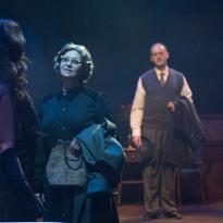 Lauren Brotman as Hedda Gabler, Deborah Drakeford as Aunt Julia, and Ian Farthing as George Tesman
