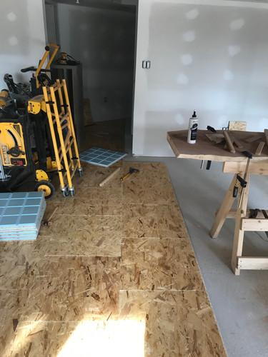 Subfloor installation in basement