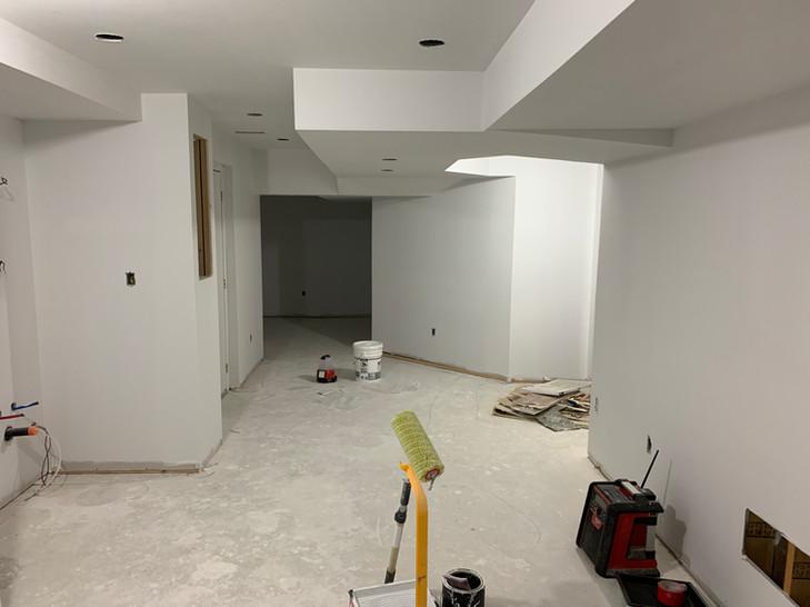 Basement walls are primed