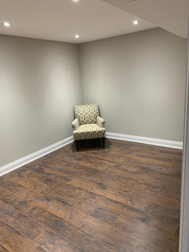 Finished basement room