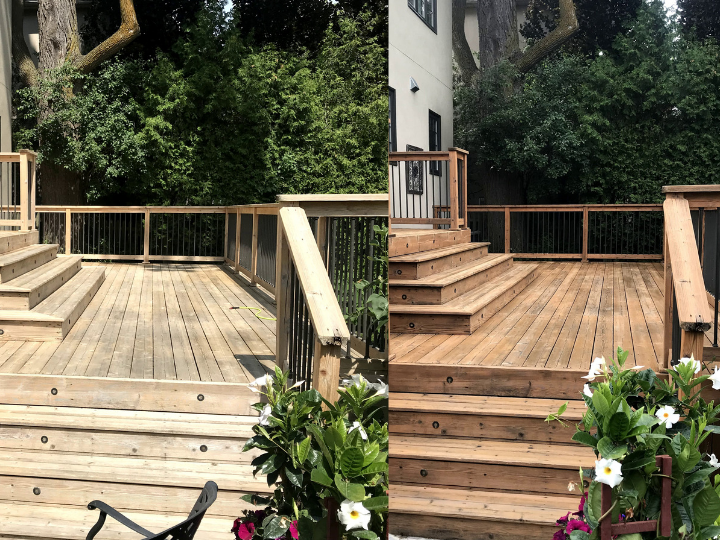 Before/after deck staining