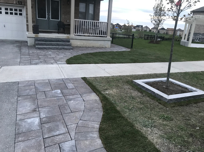 Interlock front pathway and landscaping