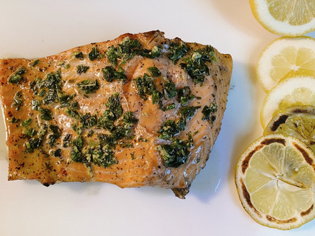 Grilled Steelhead Trout with Mint Pesto