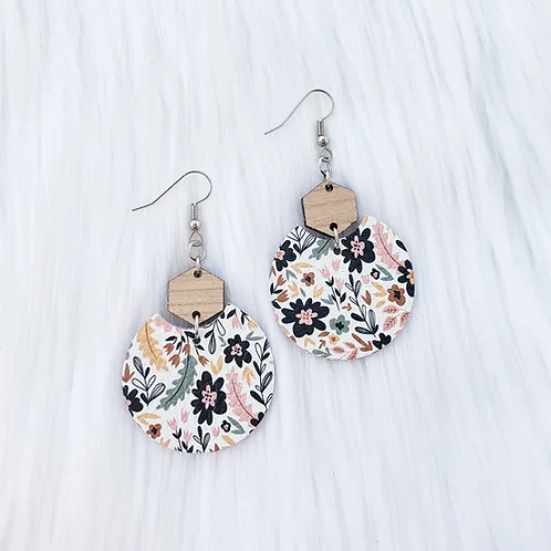 Spring Florals Semi Circle Leather Earrings