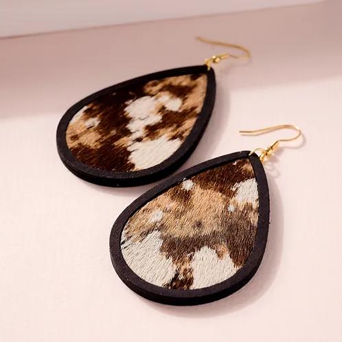 Animal Print Calf Hair Wooden Earrings