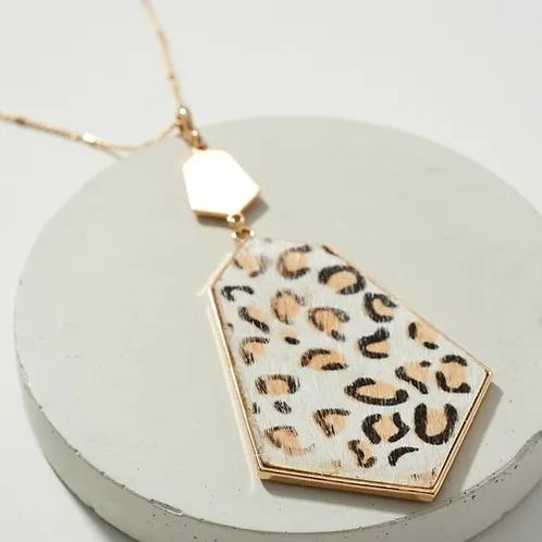 Animal Print Geometric Pendant Necklace