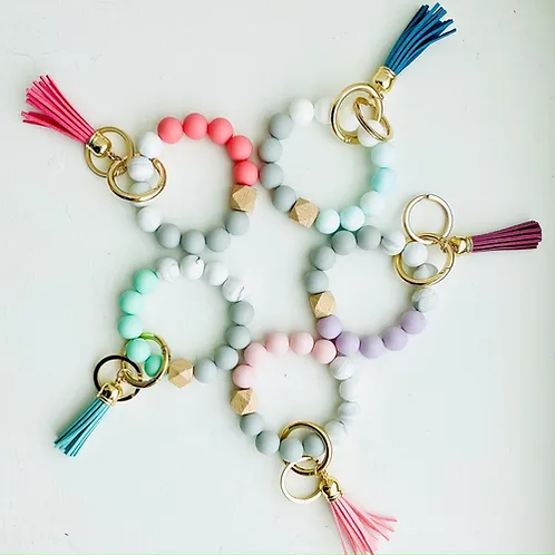 Bangle Silicone Wristlet Bead Keychain