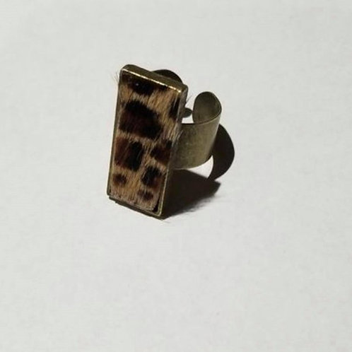Leopard Print Hair and Cowhide Ring