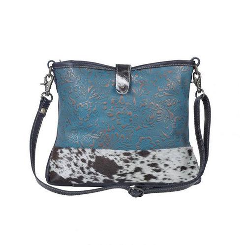 Myra Bag Blu Labyrinth Leather & Hairon Bag