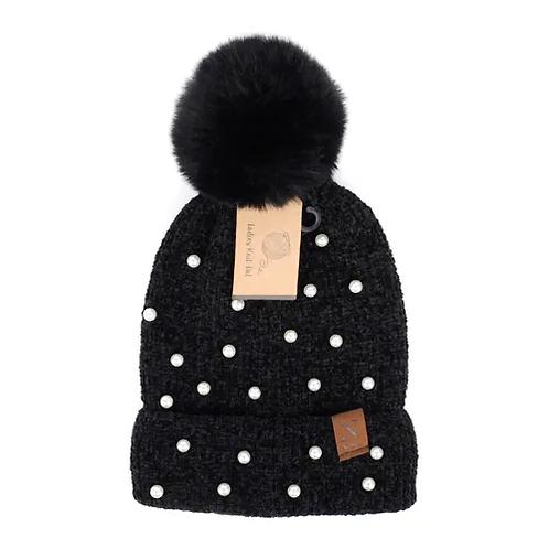 Nollia Women's Pom Pom & Pearl Knit Winter Hat