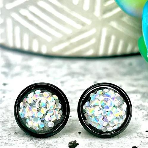 Silver Glitter Earrings 10mm