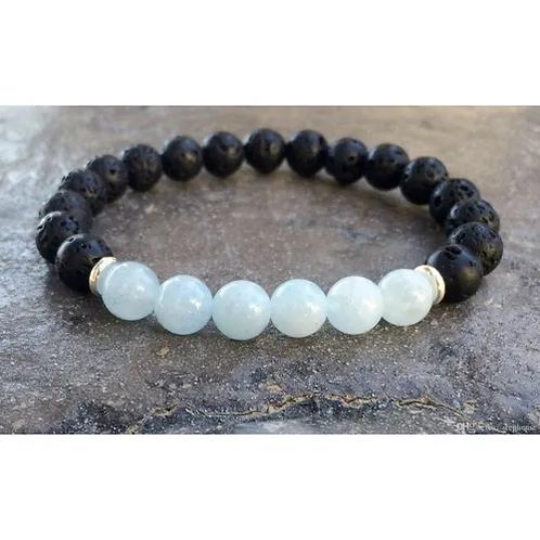 Aquamarine & Lava Stone Stretch Bracelet