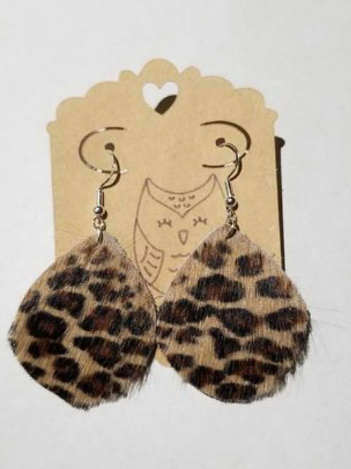 Leopard Print Hair on Cowhide Leather Earrings