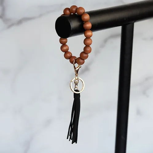 Wood Beaded Oversized Bracelet Keyring