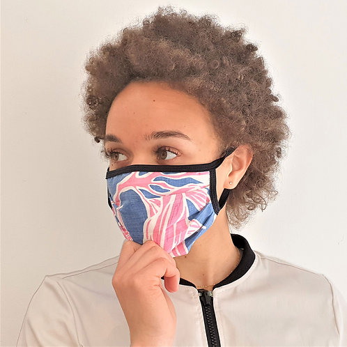Aloha style face mask unisex pink/blue/white