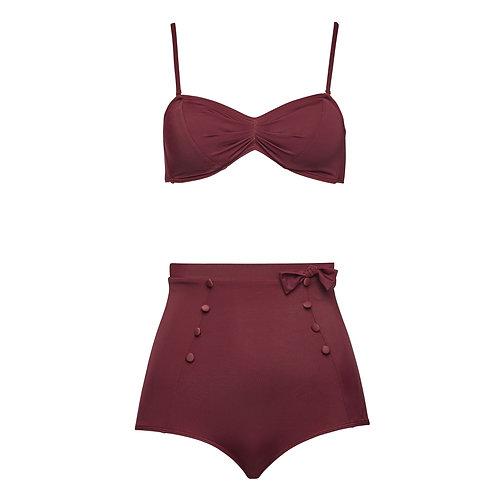 High waist bikini with buttons/ violett