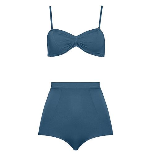 High waist bikini night blue