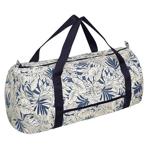 Aloha Weekend Bag- tropical print blue and white palm leafs