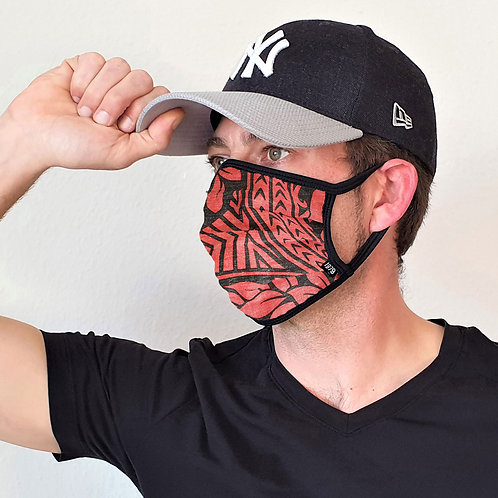 Unisex face mask / 100% cotton/ Aloha style red/black