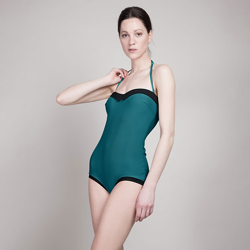 Retrostyle swimsuit TEODORA in emerald green / black