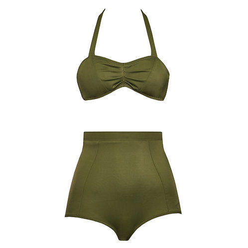 High waist bikini olive green