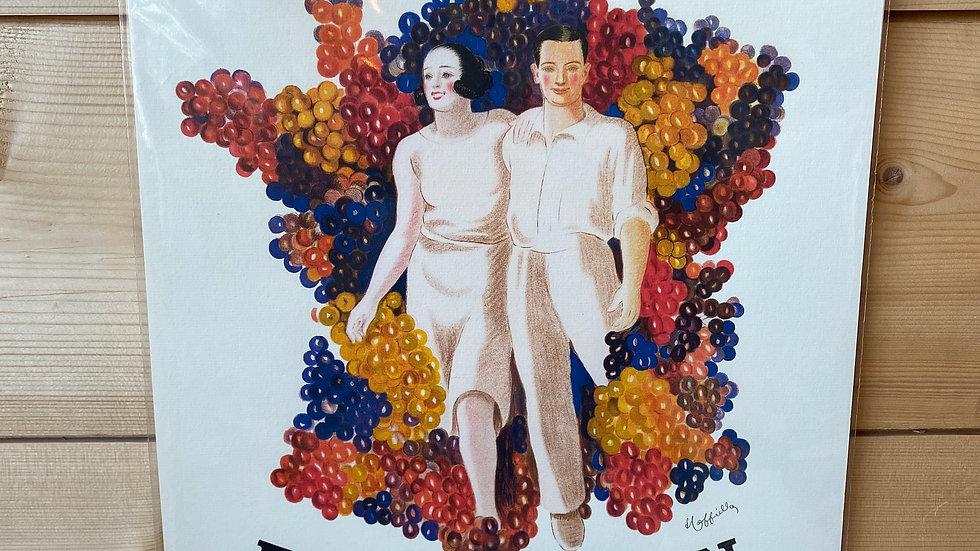 Affiche Buvez du Vin et son cadre bois aimanté
