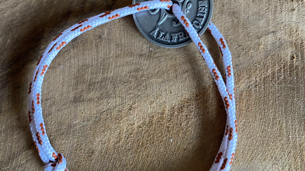 Bracelet cordon pièce en argent vieilli