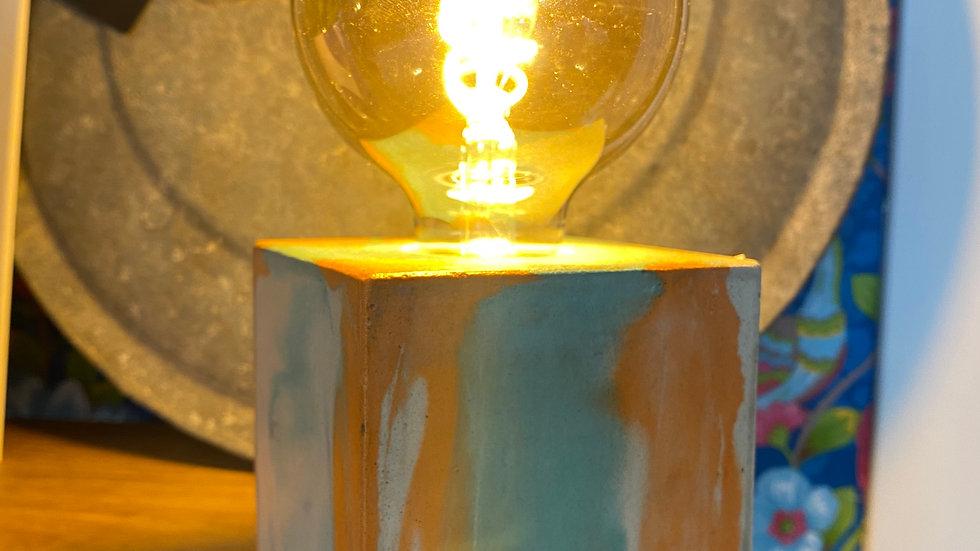 Lampe béton Tie & Dye Orange / Turquoise