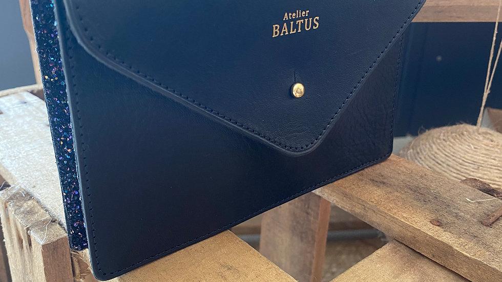 Pochette Cuir Noire et Sequins Multico Bleu