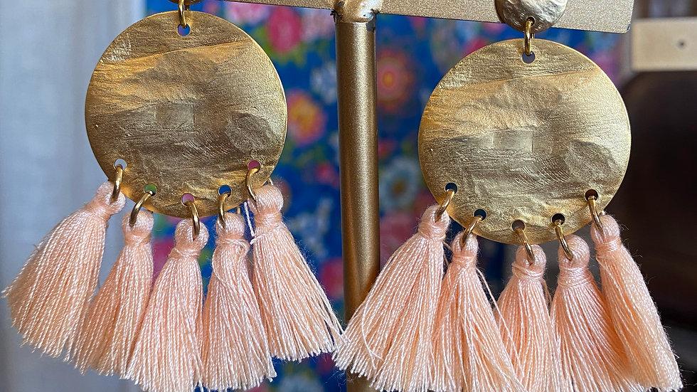 Boucles d'oreilles Pompons Pêches