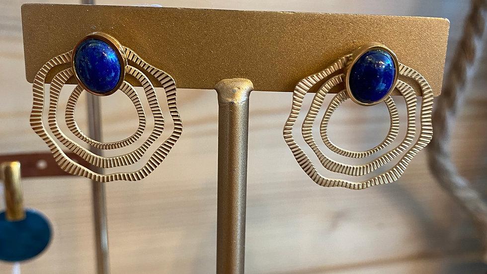 Boucles d'oreilles dorées pierre bleue
