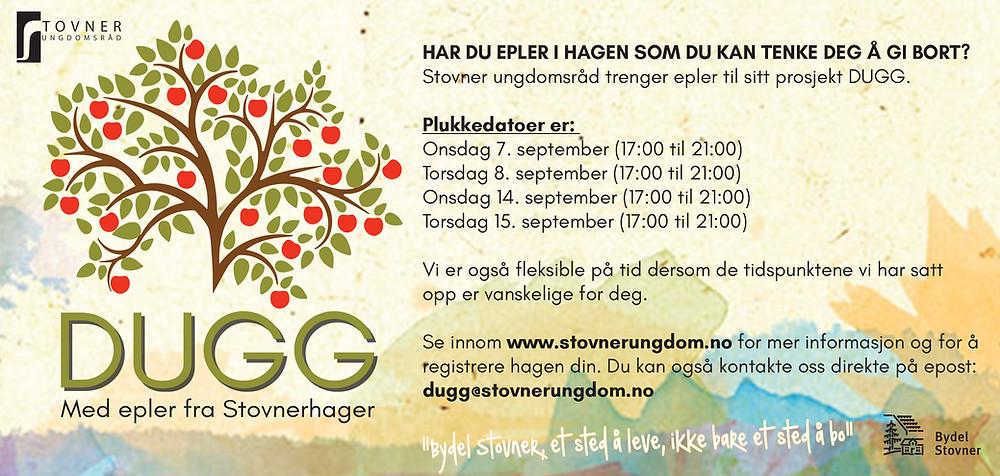 Neste uke, onsdag 7. september starter Stovner Ungdomsråd plukkingen av eplene som skal bli til DUGG. Vil du være med å plukke så kontakt ungdomsrådet på dugg@stovnerungdom.no og soi at du vil være med!
