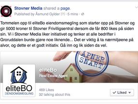 eliteBo Eiendomsmegling gir bort 5000 kroner