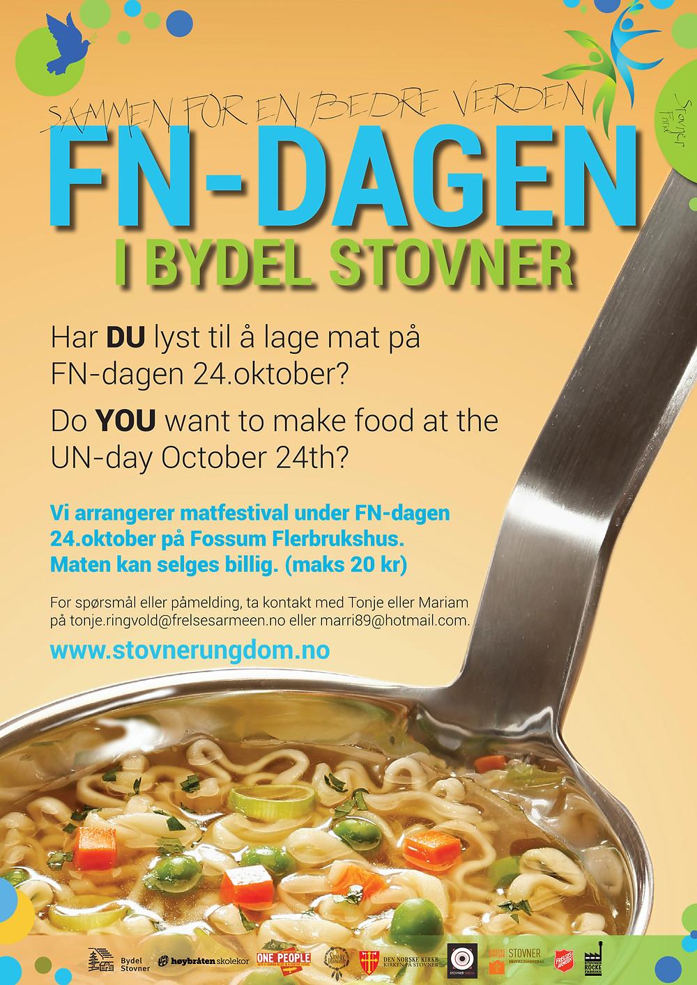Kjenner du noen som vil lage/selge mat under matfestivalen på FN-dagen 2016 - del gjerne dette med dem!