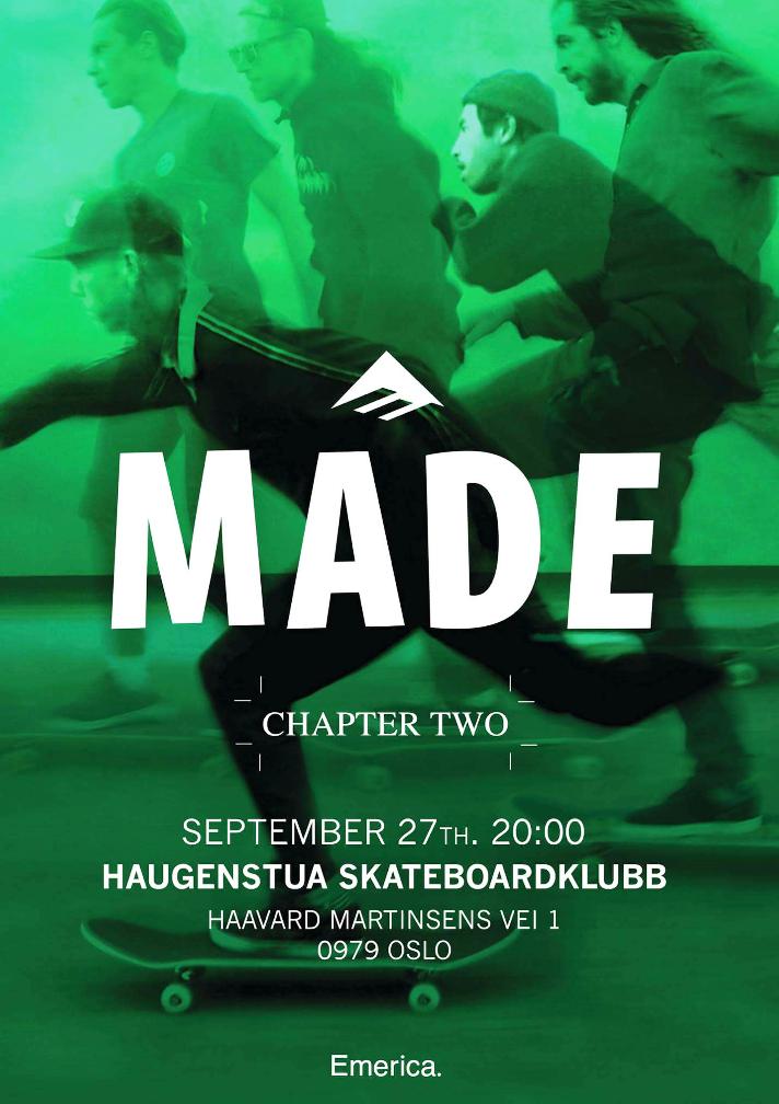 Haugenstua Skatepark har vært så heldige å ha premieren på «MADE chapter two»!!! Det blir visning på storskjerm , saft og boller.