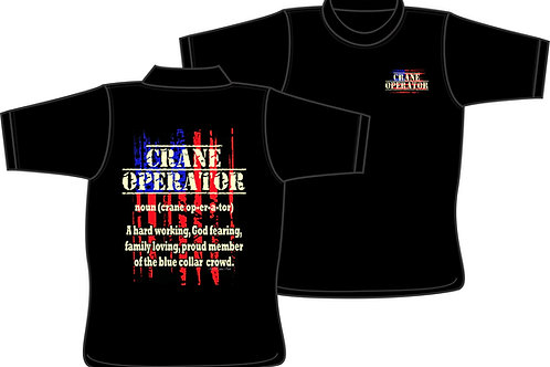 Crane Operator (noun) T-shirt with American Flag T-Shirt